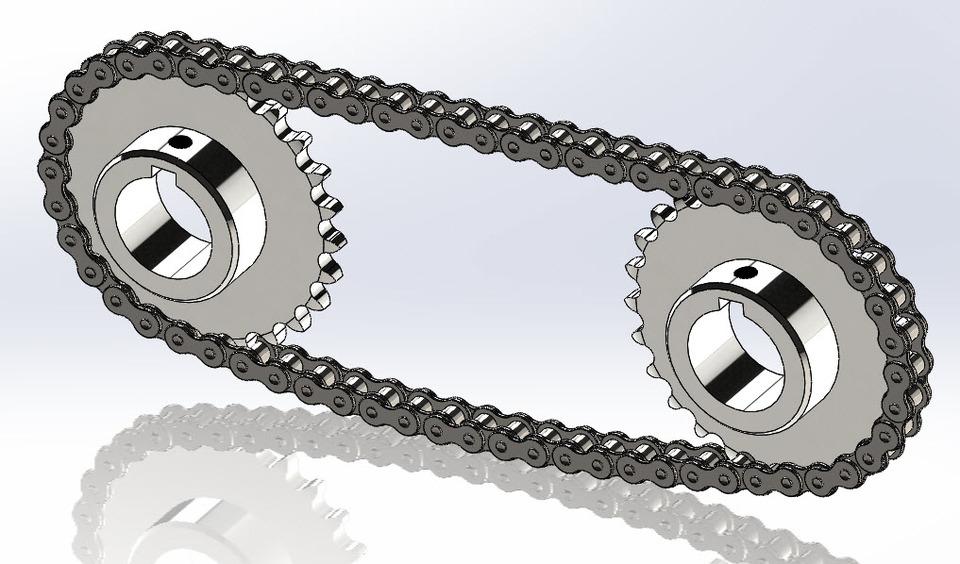 一个由SolidWorks设计的链条和链轮尺寸!22米乘模型米制作喷绘图片
